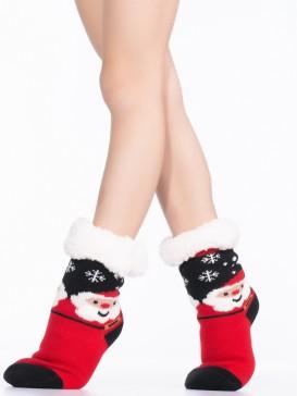 Носки Hobby Line HOBBY 30769 детские носки с мехом внутри Дед мороз со снежинками